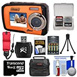 Coleman Duo 2V7WP Dual Screen Shock & Waterproof Digital Camera (Orange) with 16GB Card & Reader + Batteries & Charger + Case + Float Strap Kit