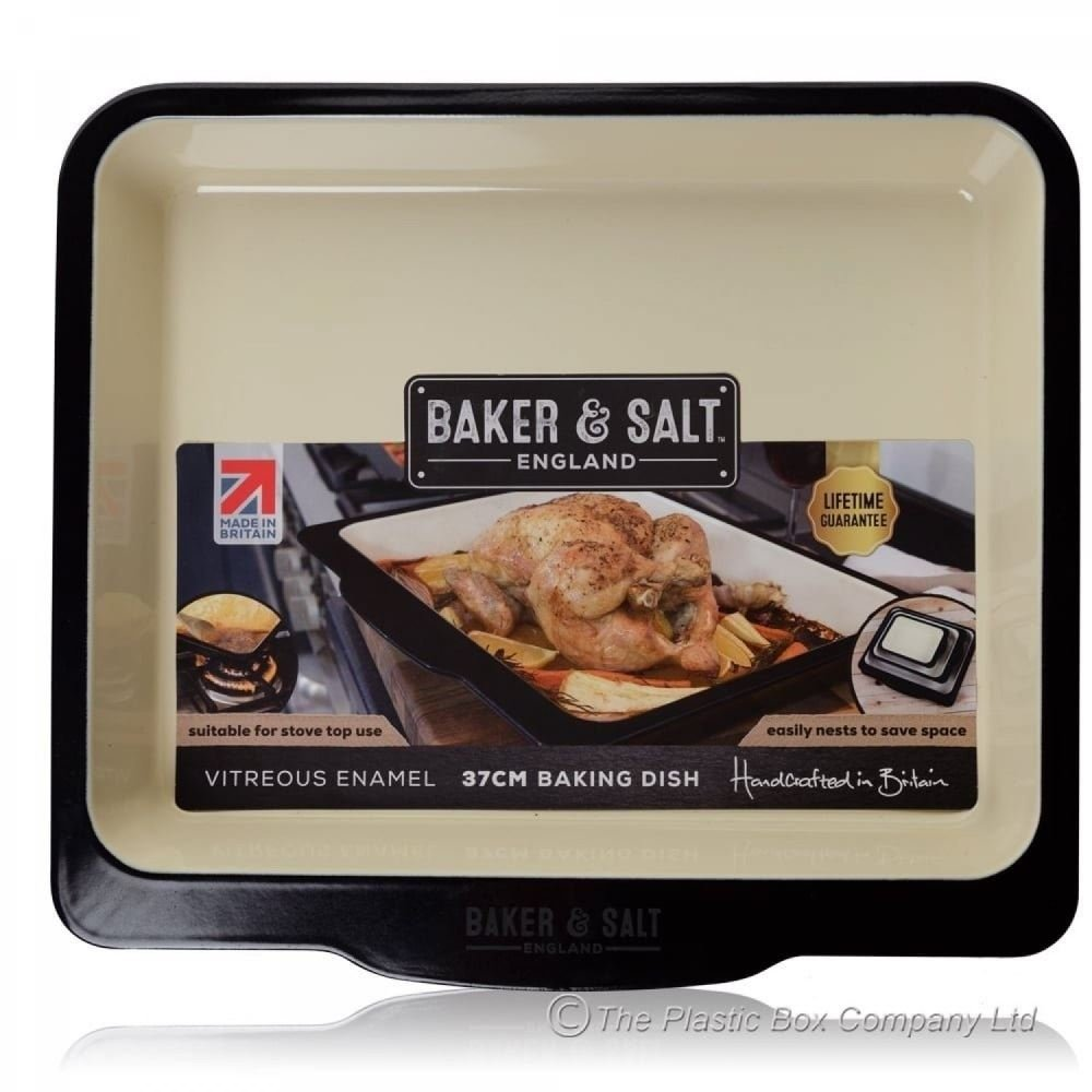 Wham Baker & Salt Vitreous Enamel Baking Roasting Dish in cream and Black 14.5 Baker& Salt