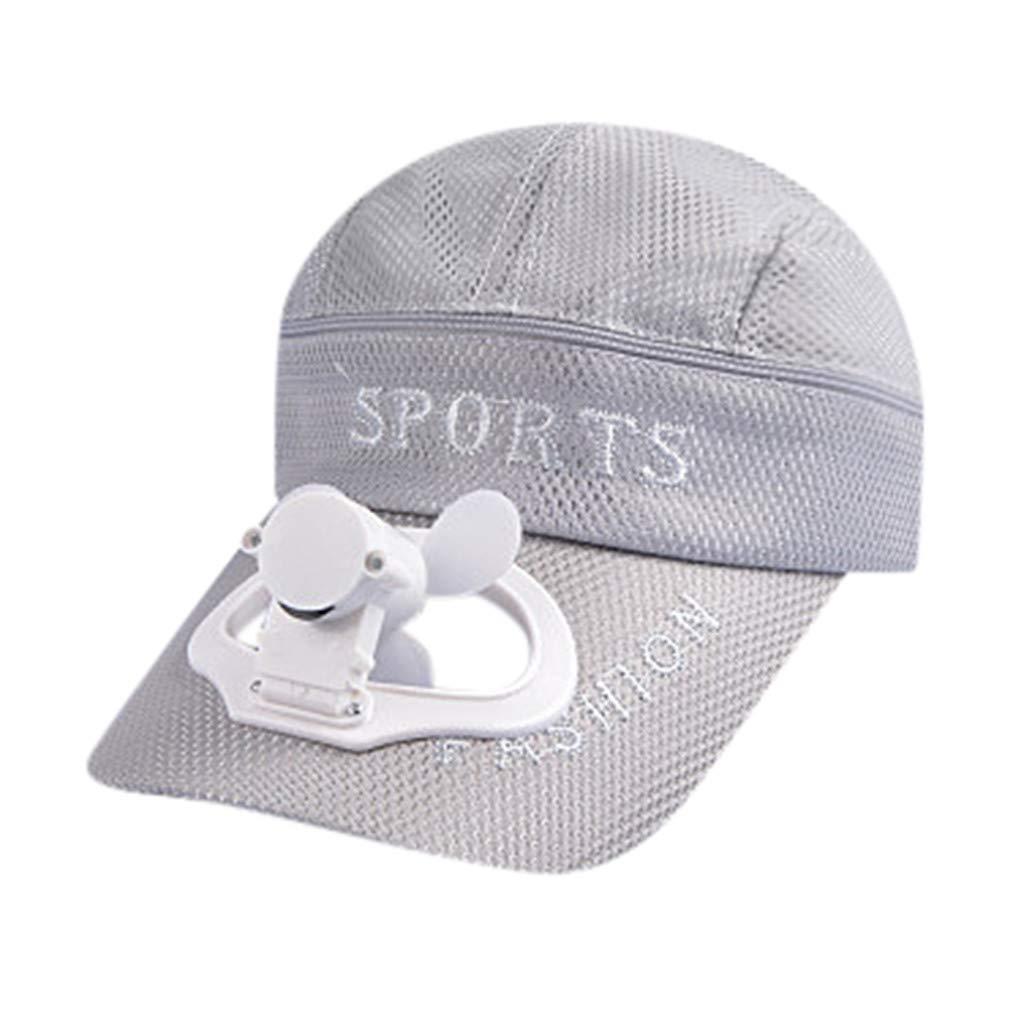 TIFENNY 2019 New Fan Cap Summer Fan Cooling Baseball Cap Hat USB Charging Breathable Shade Sunscreen Hat Gray