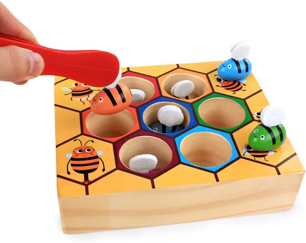 Gioco di corrispondenza in legno con alveare dapi colorato in legno per ordinare il colore del gioco educativo precoce regalo per bambini e bambini Atrumly