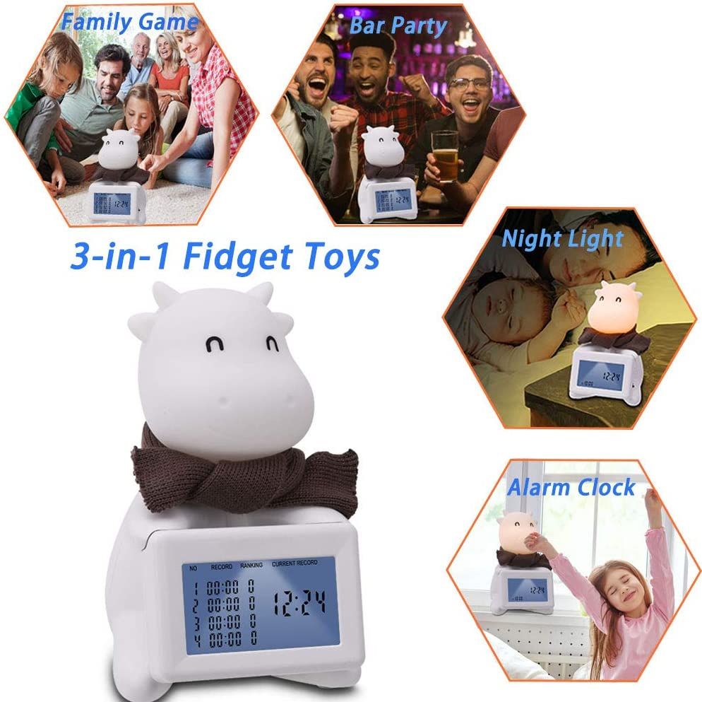 Elefama Fidget Toys for Kids Adults Anxiety Relief Fidgeting Toy 10 Second Challenge Toy with Soft Night Light Kids Alarm Clock Stress Anxiety Relief Sensory Fidget Toys for Autistic Children