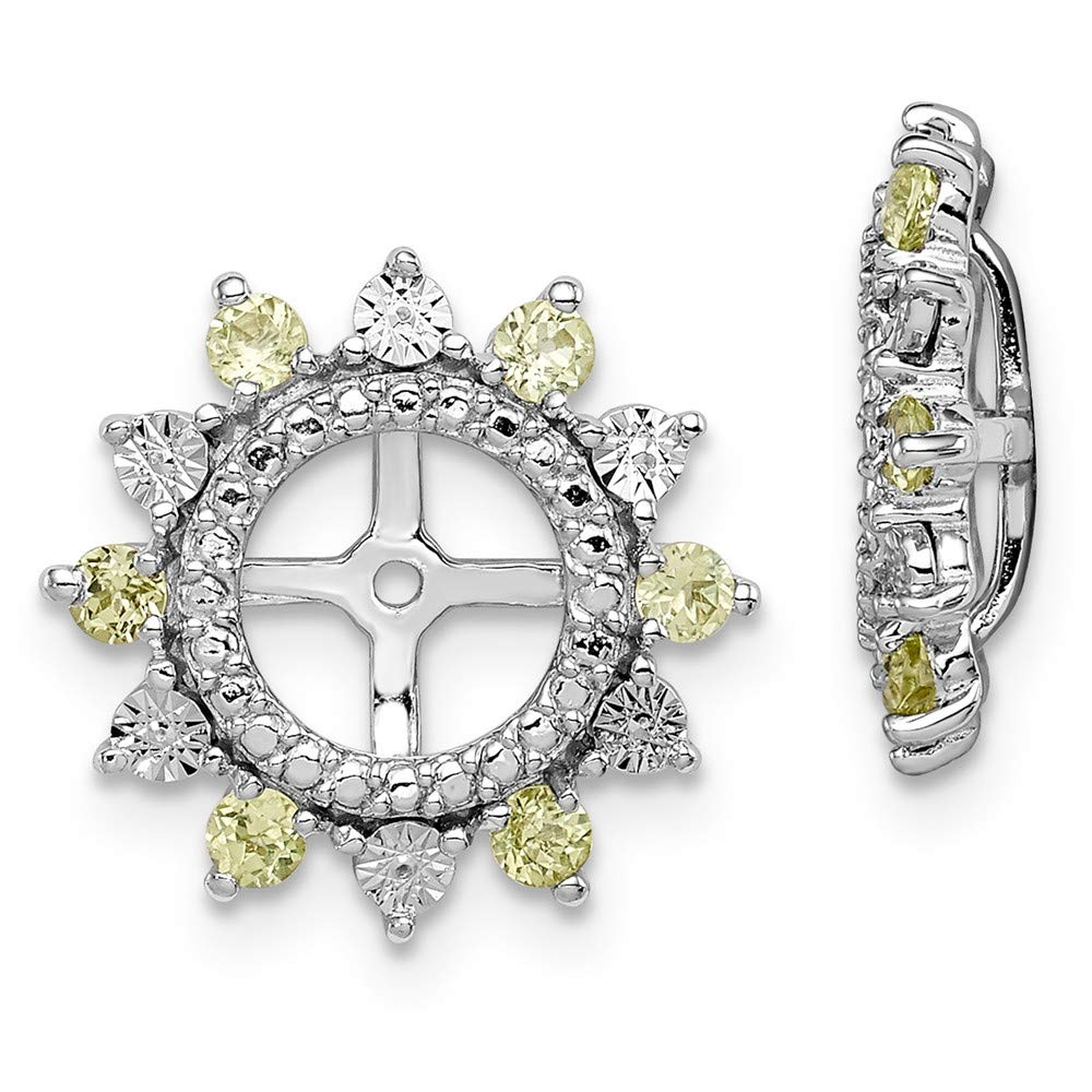 /& Peridot Earring Jacket Sterling Silver Rhodium Diam