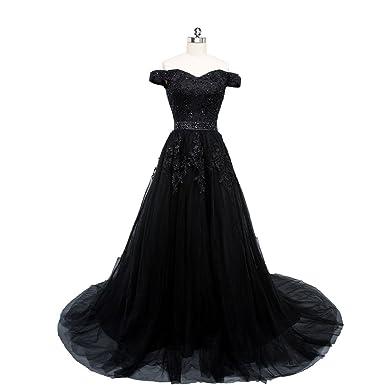 Beauty-Emily Wedding Dresses Black Ladys Elegant Lace Fashion A line Sweep Train Prom Party
