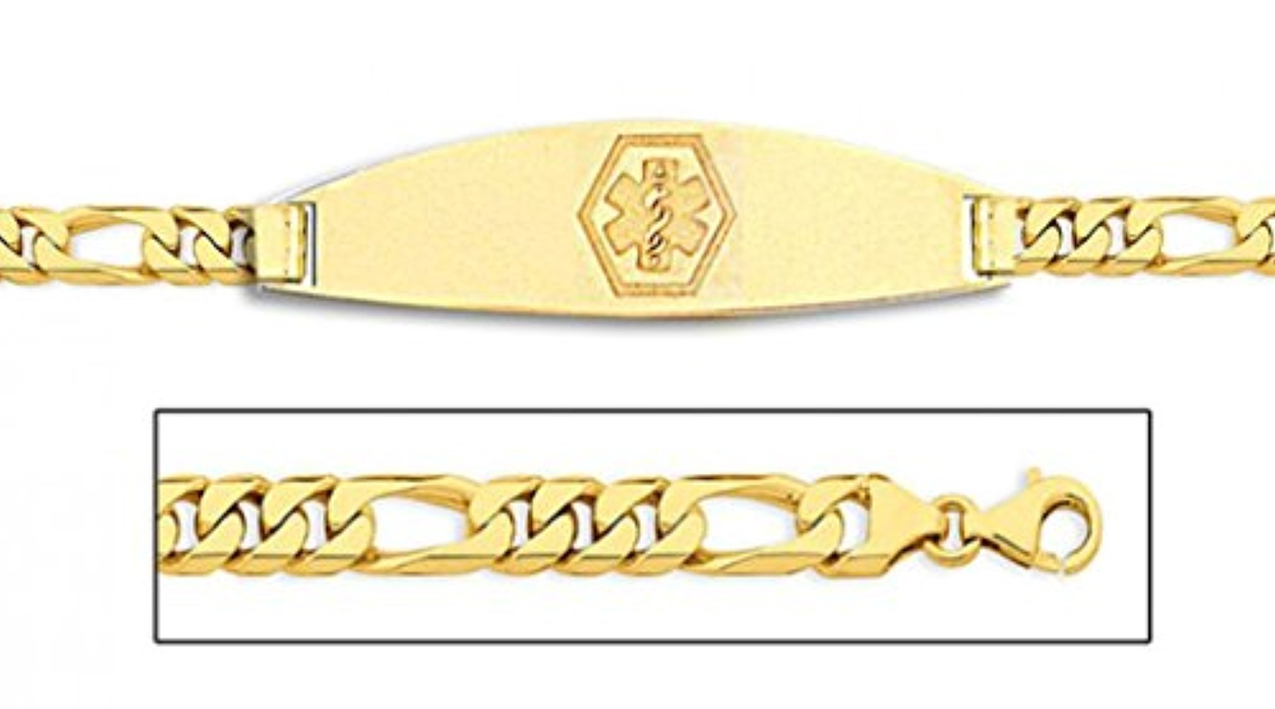 14K Gold Medical ID Bracelet W/Figaro Chain - 8 Inch WITH ENGRAVING