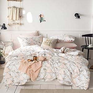 EnjoyBridal Geometric Teen Comforter Cover Set Queen 100% Cotton Duvet Cover Kids Queen with Hidden Zipper Pink Marble Noble Women Bedding Sets Full for Girls Adults, No Comforter