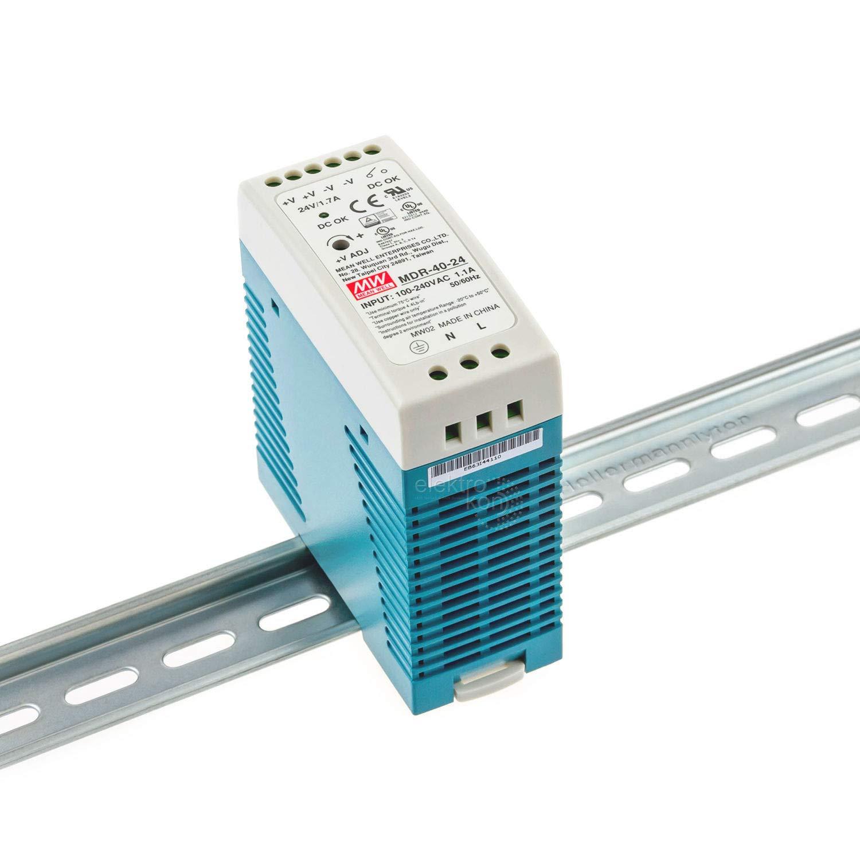 Din-Rail Fuente de alimentaci/ón 40,8W 24V 1,7A ; MeanWell MDR-40-24