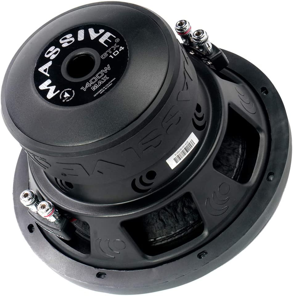 Car Subwoofer by Massive Audio GTX104 - Woofer with Amazing Sound for Truck, Cars - 10 Inch Car Audio 1,400 Watt GTX Series Dual 4 Ohm, 2.5 Inch Voice Coil. Sold Individually