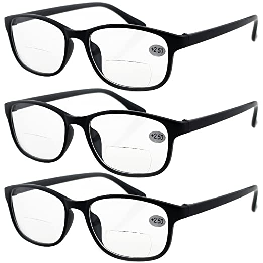 d495d2d6bf2 Amazon.com  Lasree 3 PRS +1.00 Classic Style Bifocals Reading Glasses Mens  Womens Spectacles Frames Readers Office Home Eyeglasses (+1.00