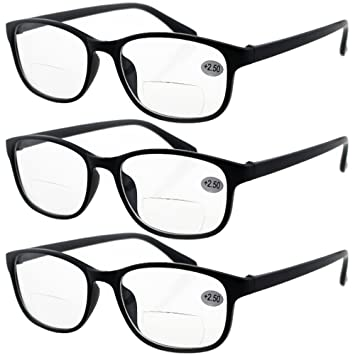 25c949bbedd Lasree 3 PRS +1.00 Classic Style Bifocals Reading Glasses Mens Womens  Spectacles Frames Readers Office