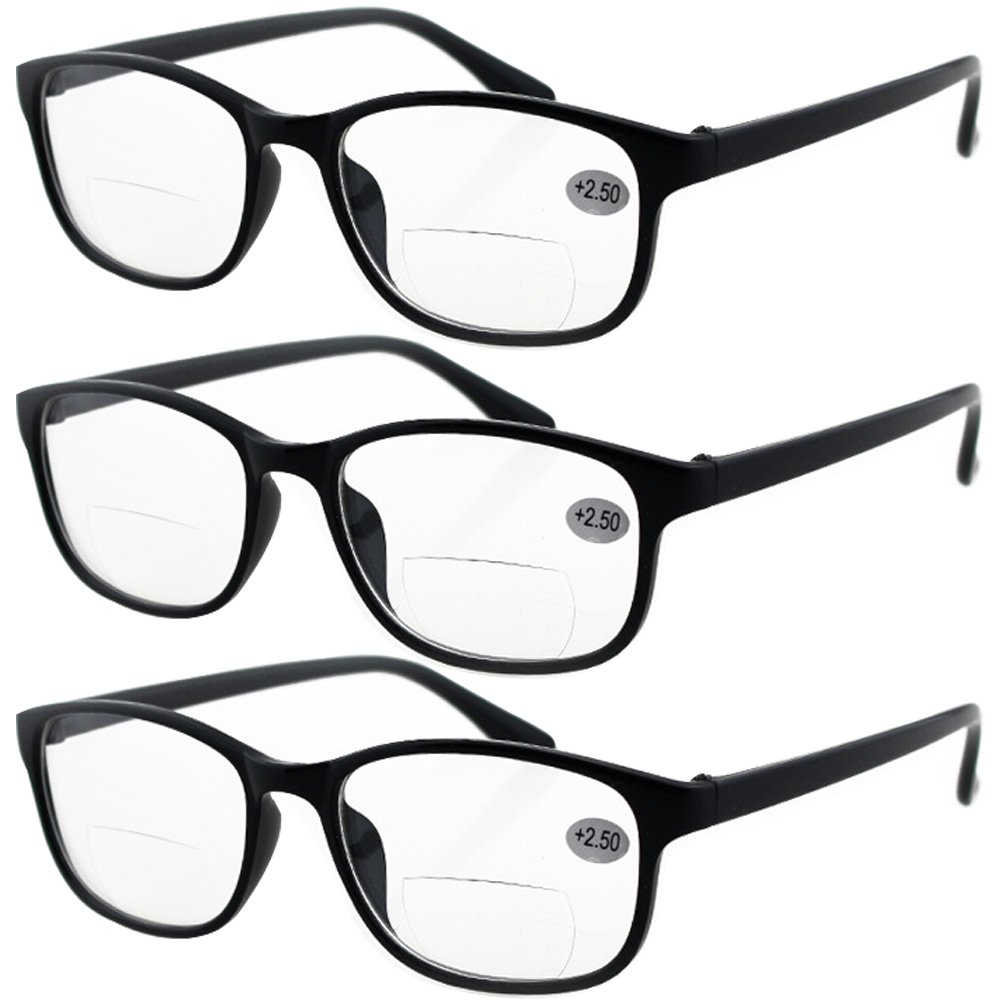9018d64809a Lasree 3 PRS +2.50 Classic Style Bifocals Reading Glasses Mens Womens  Spectacles Frames Readers Office