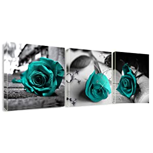 "Canvas Wall Art Teal Rose Flowers Pictures Wall Decor -36"" x 12"" Gray Canvas Prints Painting Framed for Bathroom Bedroom Home Decor"