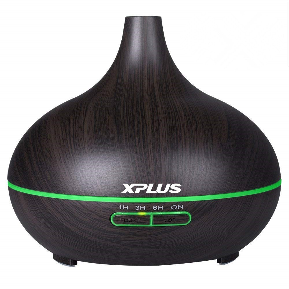 Aroma Essential Oil Diffuser,XPLUS 300ml Dark Wood Grain Ultrasonic Cool Mist Humidifier With Adjustable Mist Mode,Multi-Color Light and Waterless Auto Shut-Off for Car Office Home Bedroom Living Room Study Yoga Spa (Dark Wood Grain)