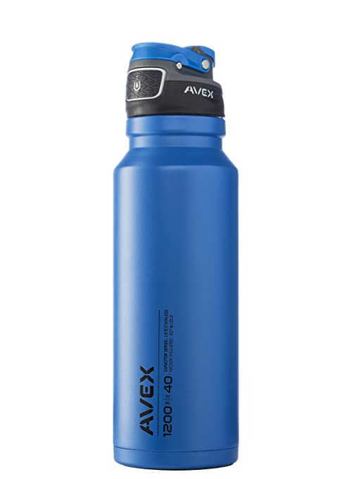 6e2d2429d7 AVEX FreeFlow Stainless Autoseal Water Bottle, Deep Blue, 1200ml/40 oz