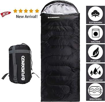 FUNDANGO Sleeping Bag Adults/Kids Lightweight Rectangular/Mummy Compact Waterproof Portable Cool Weather Season Sleeping Bags for Camping Backpacking ...