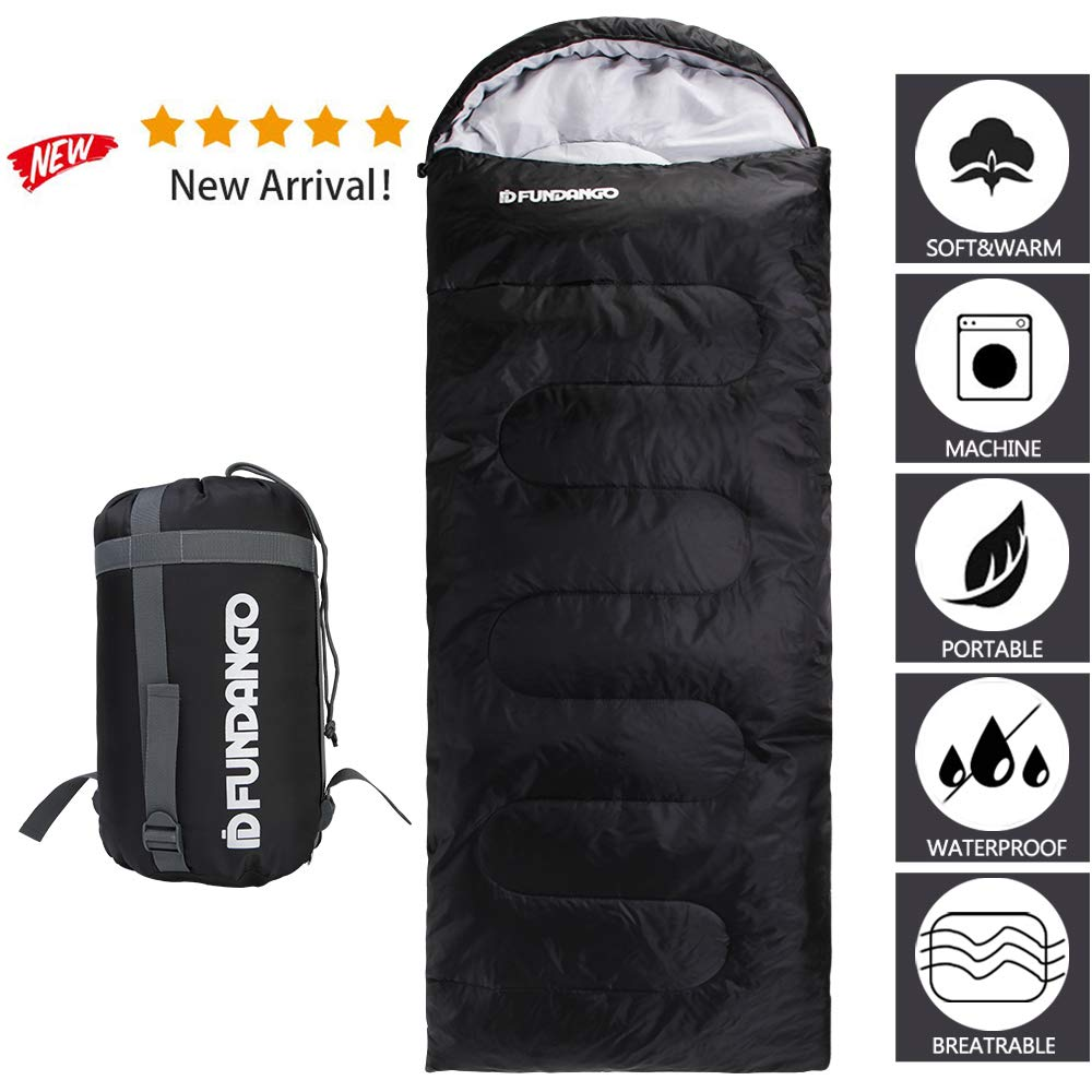 FUNDANGO Sleeping Bag Adults/Kids Lightweight Rectangular/Mummy Compact Waterproof Portable Cool Weather Season Sleeping Bags for Camping Backpacking Hiking (200GSMBlack, 220x75cm-Left) by FUNDANGO
