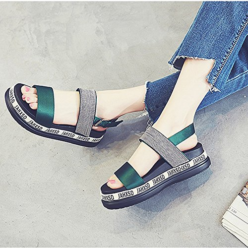 Sandals ZHIRONG Women's Summer Fashion Roman Shoes Open Toe Student Shoes Platform Shoes Beach Shoes 5CM (Color : Green, Size : EU36/UK3.5/CN35) Green