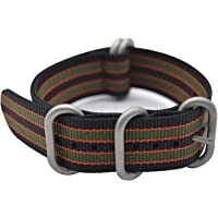 BarRan Vistoso Cepillado Nylon Watchband Knitted Nylon Respirable Correa de Reloj con Acero Inoxidable Plata NATO Hebilla - Choose Width & Color - 18mm,20mm,22mm