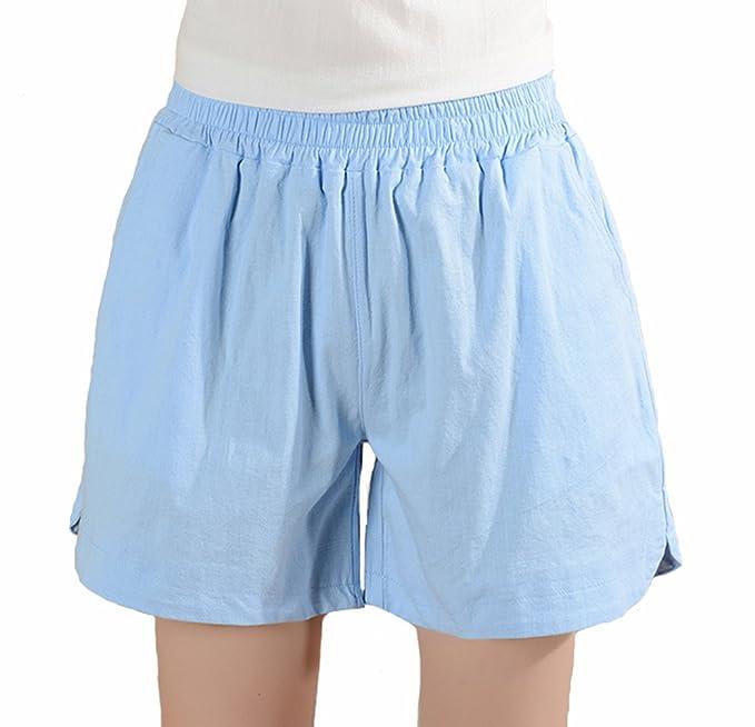 Damen Leinenshorts Bermuda Lockere Kurze Hose Freizeithose Leinen Shorts  Elegante Haremshose Sommer Strand,Damen Bermuda 22c8fc71a3