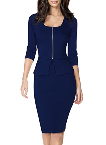 Miusol Women's Square Neck Busniess Peplum Fitted Casual Bodycon Dress