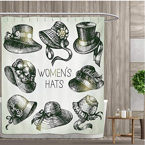 Victorian Patterned Shower Curtain Collection of Vintage Woman Hats and Retro Fashion Catalogue Female Old Image Art Shower Curtain Collection by 72