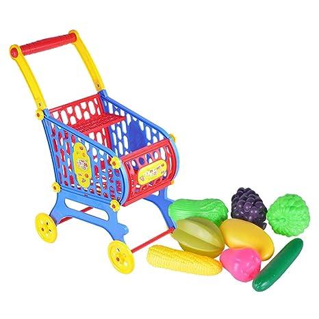 P Prettyia Precioso Carrito de Compras de Plástico con Alimentos para Niños Pequeños - Carrito de