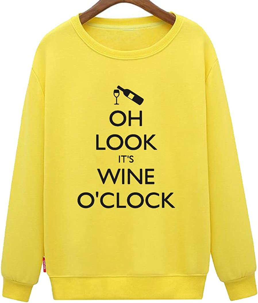 Mens Oh Look Its Wine Oclock Drinking Casual Loose Sweatshirt