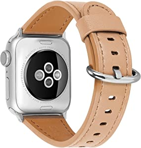 HUAFIY Compatible iWatch Band 38mm 40mm, Top Grain Leather Band Replacement Strap iWatch Series 6/ 5/ 4/ 3/2/1,SE,Sport, Edition (Camel Band 01+silver buckle, 38mm40mm)