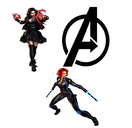 The Avengers Patch Iron On Patch Marvel Patch Heat Transfer Paper Iron On  for T Shirt Jersey DIY Avenger Shirt (8 Inch Tall) (Black Widow Scarlet