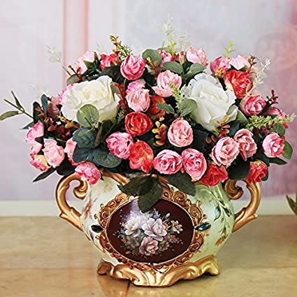 Amazon XHOPOS HOME Artificial Plants Flowers Rose Living Room Indoor Floral Arrangements Home Office Decorative Accessories