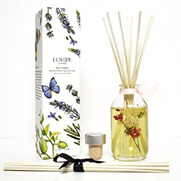 Lovspa Spring Wild Flowers Reed Diffuser Scented Sticks Gift Set Rose Egyptian Jasmine Sweet Pea Lily Of The Valley And Dark Amber Home Decor