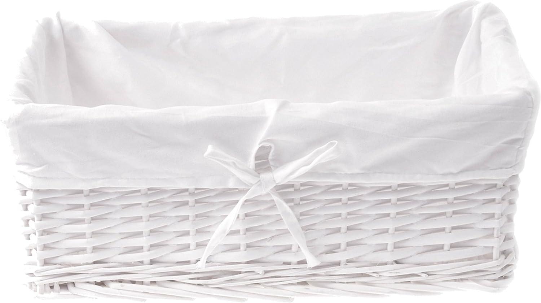 ZOHULA New Blanco Cesta de Mimbre con Forro de algodón Blanco Natural 43cm x 32cm x 16cm