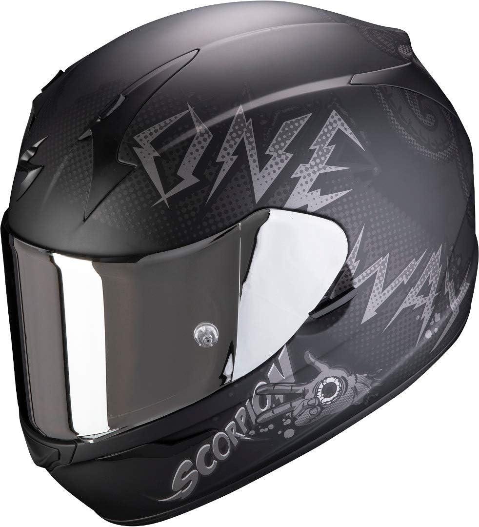 Schwarz//Grau Scorpion Motorradhelm EXO-390 ONEWAY Matt Black-Silver XS