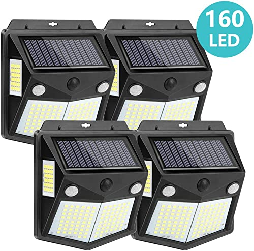 Kaulsoue 160 LED Solar Outdoor Lights, Waterproof Security Motion Sensor Wall Lights for Yard, Garden, Deck, Patio 4 Pack