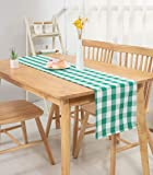 """Nobildonna 72"""" x 13"""" Plaid Checkered Table Runners, Green & White Checker, Quality Polyester Table Runners"""