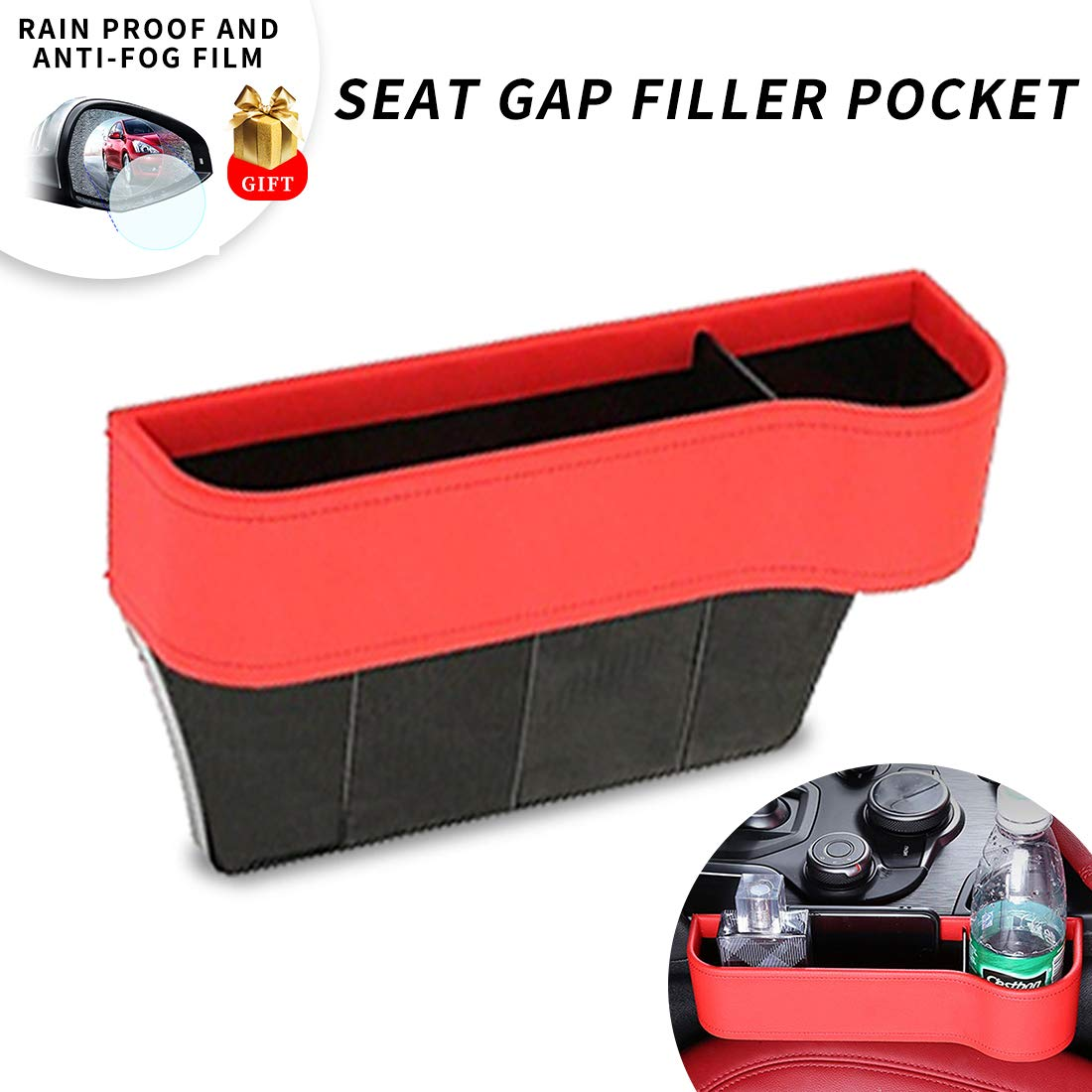 Center Console Side Pocket, PU Leather Car Seat Gap Filler Organizer Catcher with Cup Holder, Pack of 1 (Red)