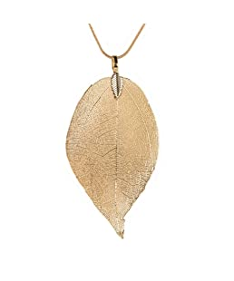 Keliay Special Leaves Leaf Sweater Pendant Necklace Ladies Long Chain Jewelry Best for Gift (Gold)