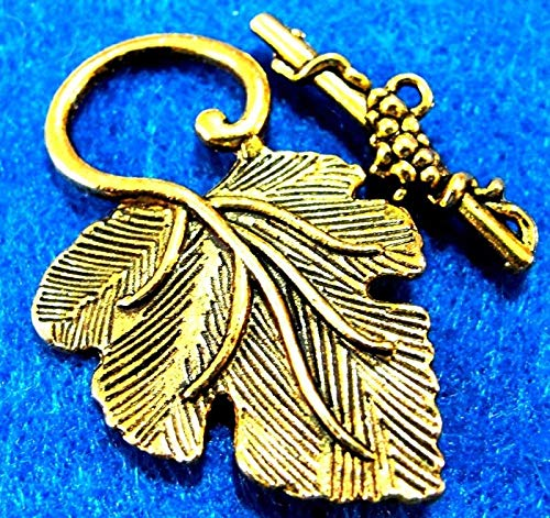 Bracelet Toggle Leaf - 5Sets Tibetan Antique Gold Leaf Toggle Clasps Connectors Hooks Findings C148 Crafting Key Chain Bracelet Necklace Jewelry Accessories Pendants