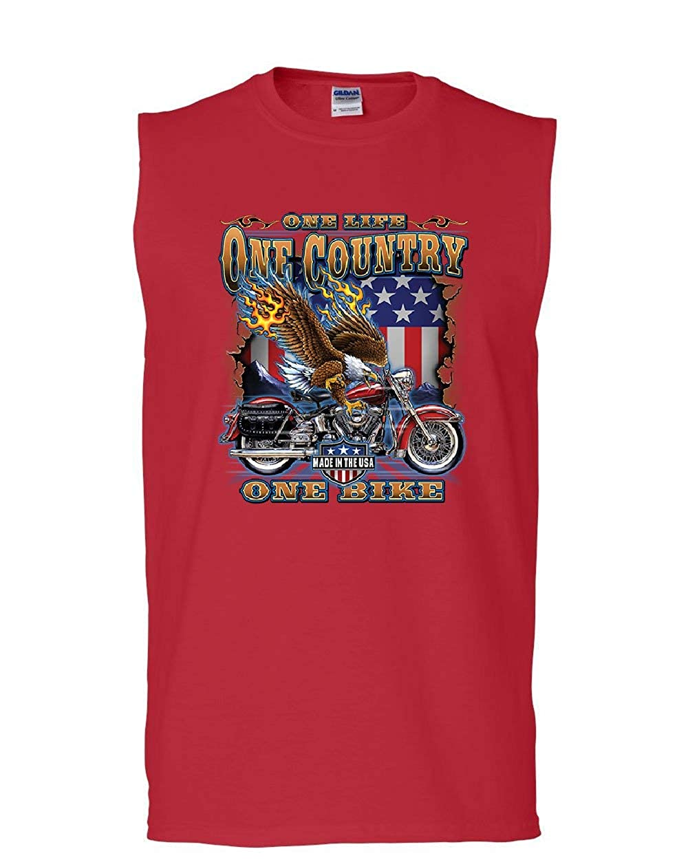 One Life One Country One Bike Muscle Motorcycle Club Bald Eagle Sleeveless Shirts