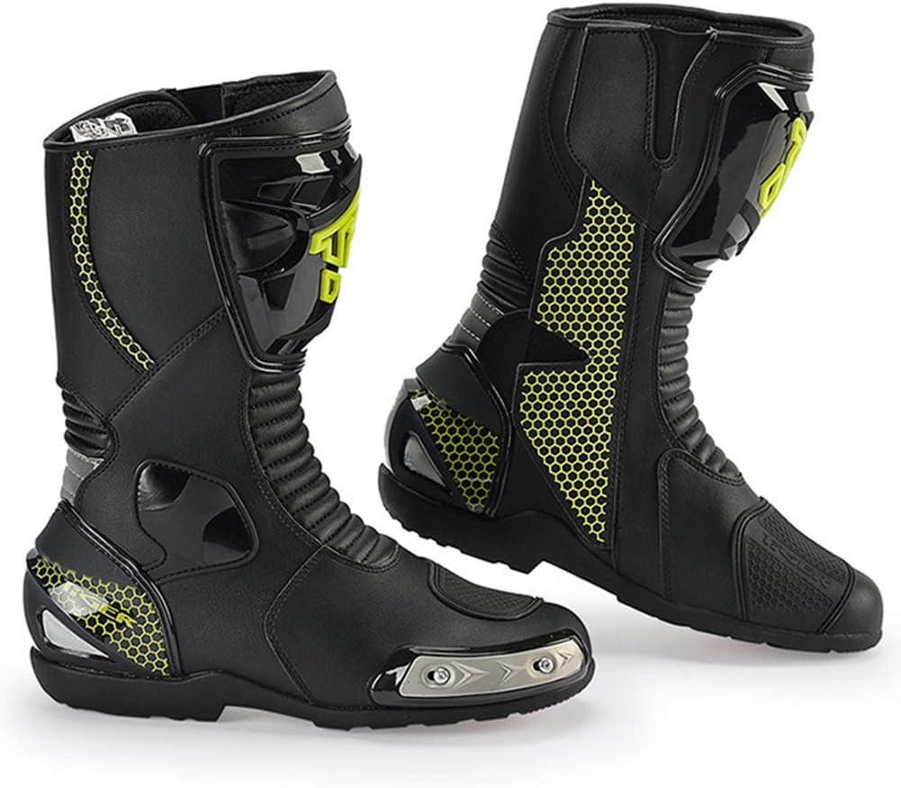 CYCPACK Hombres Cuero Auténtico TR Conductores Motocicletas Zapatos Pro Racing Botas - Protección Tobillo Antideslizantes Moto Botas Rotación, Deporte Al Aire Libre Aventura Motocross Botas,EU45(UK9)
