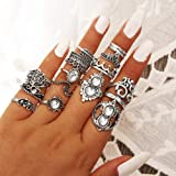 Anel Opeof 16 peças/conjunto retrô Boho Hamsa Mão Coroa dedo Midi Articulação Anéis Joalheria - Prata Antiga