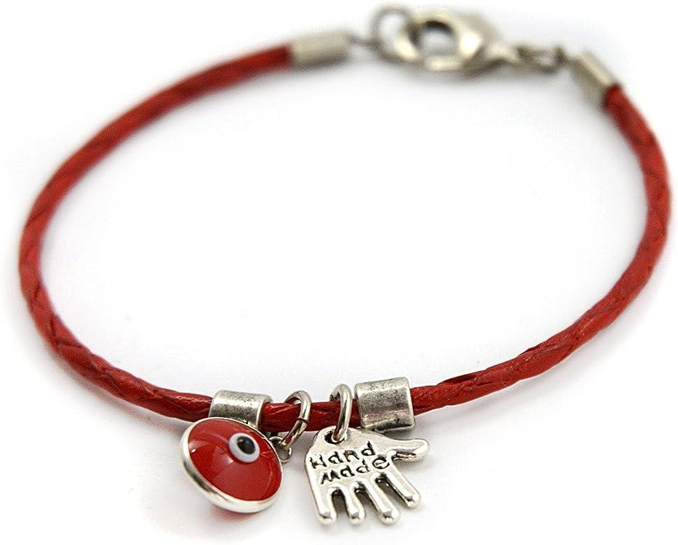 Pulsera para mujer de cuero rojo con jamsa y amuletos contra el mal de ojo – 18 cm: Amazon.es: Joyería