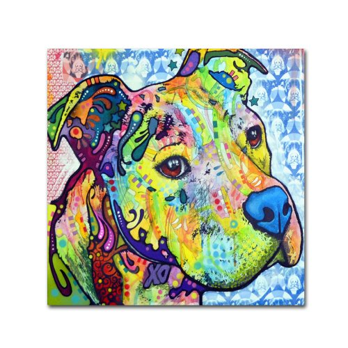 - Thoughtful Pit Bull III Artwork by Dean Russo, 35 by 35-Inch Canvas Wall Art