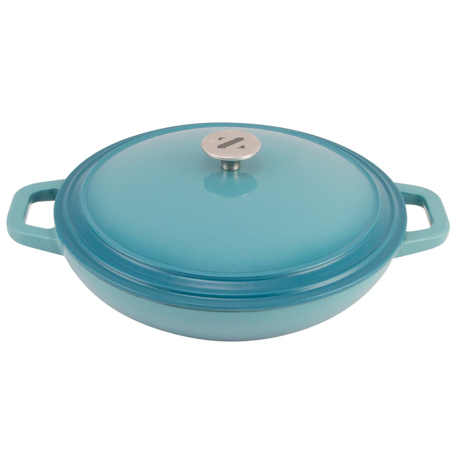 Zelancio Cookware 3 Quart Enameled Cast iron Casserole Dish with lid - Perfect for Brazing, Slow Cooking, Simmering and Baking (Teal)