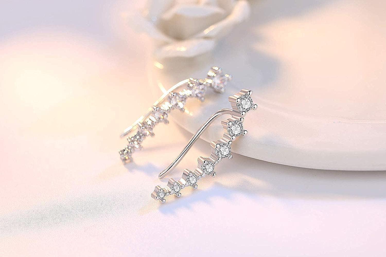 Yolmina Ear Cuff Climber Earrings 7 CZ Cubic Zirconia Crawler Earrings S925 Sterling Silver Hypoallergenic Earring with Gift Box
