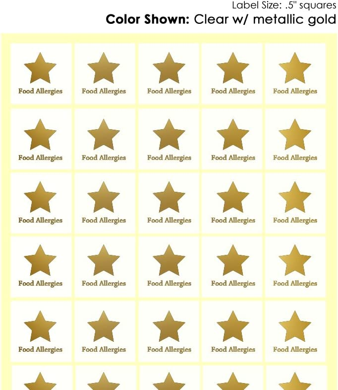 Savor The Memories Meal Stickers for Place Cards (Gold or Black) (Clear with Gold Icon, Food Allergies 2-Star)