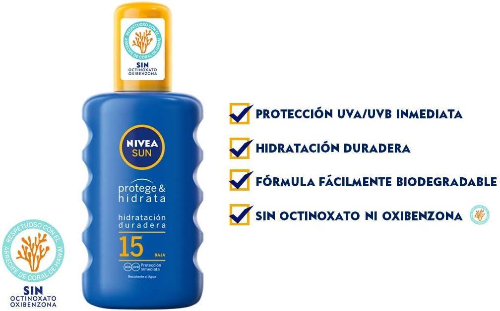 NIVEA SUN Protege & Hidrata Spray Solar FP15 (1 x 200 ml ...