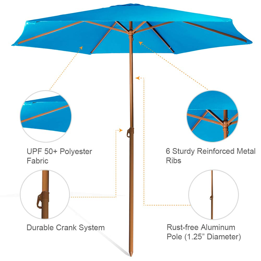 690GRAND Sturdy 8ft Shade Vented Patio Umbrella Aluminum Poles with Polyester Canopy Portable for Beach Outdoor UV Protection UPF 50