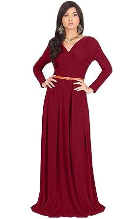 5f1b643f10 KOH KOH Petite Womens Long V-Neck Sleeve Sleeves Fall Formal Flowy Floor  Length Evening
