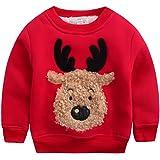 Happy cherry - Ropa Invierno Sudadera Chándal Suéter Niños de Navidad con Dibujo de Reno Grueso Cálido con Terciopelo Suave - 12-18meses 18-24meses 2-3 años 4-5años 6-7años