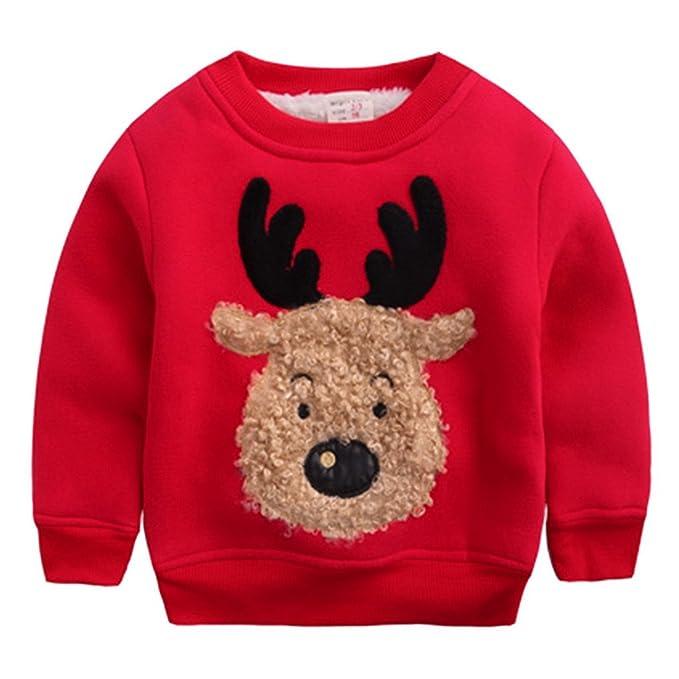 9633cc4ce27 Happy Cherry - Ropa Sudadera de Niños Bebés para Invierno Chandal Camiseta  Navidad Dibujo de Reno